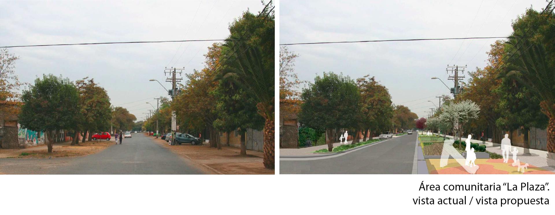 área comunitaria La Plaza vista actual y propuesta