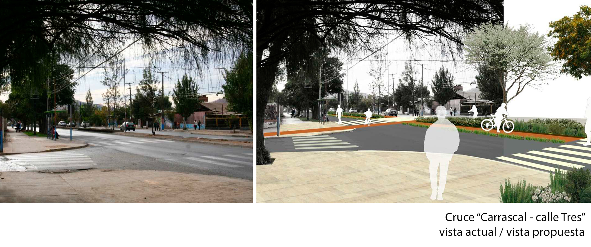 Cruce Carrascal calle Tres vista actual y propuesta