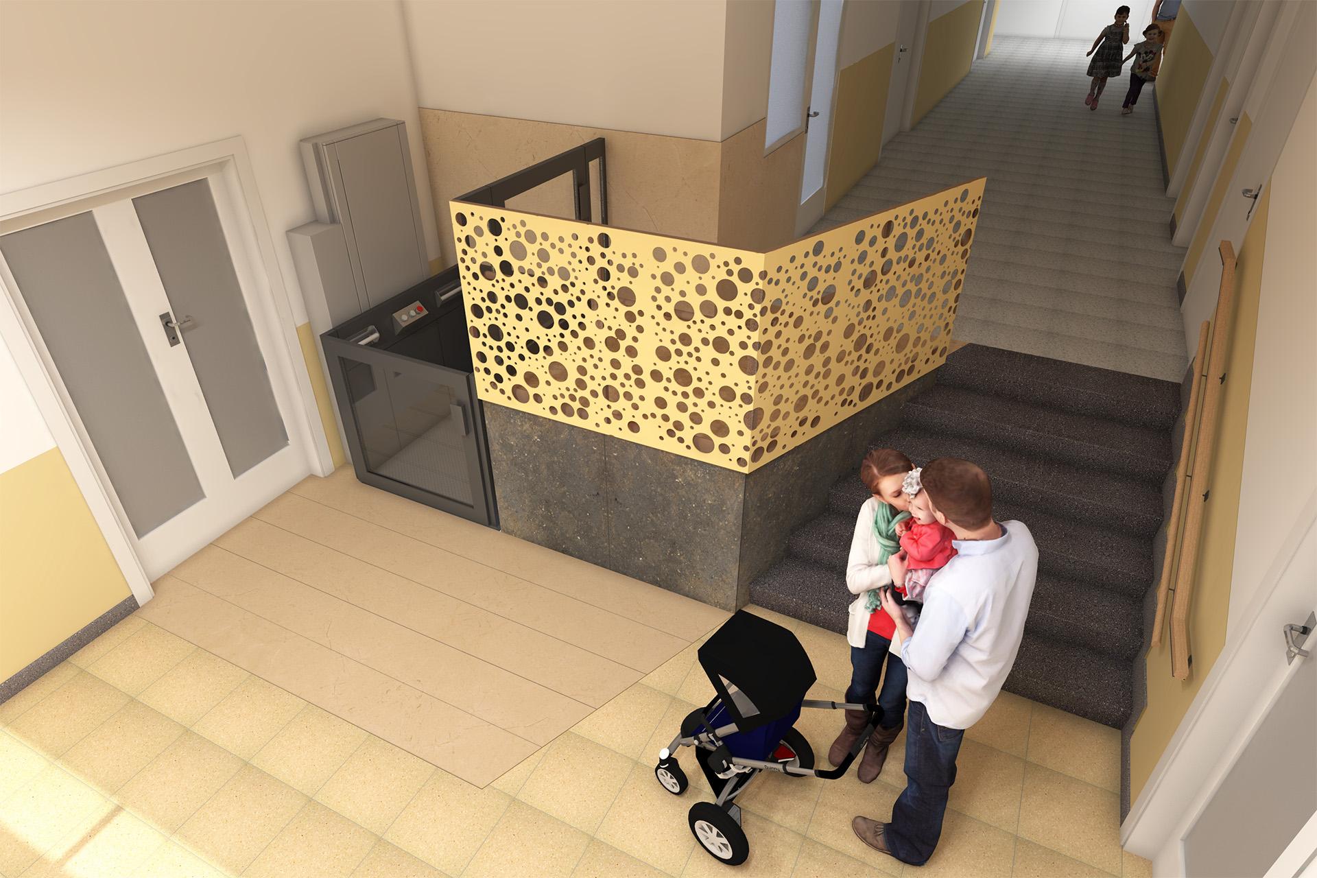 Vista lateral de vestíbulo y elevador