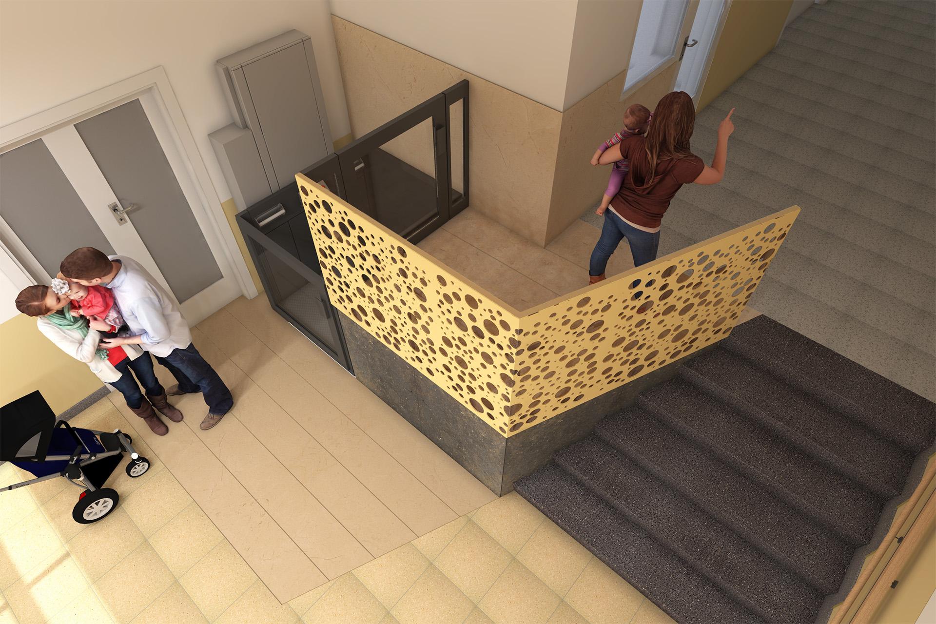 Vista superior de vestíbulo y elevador