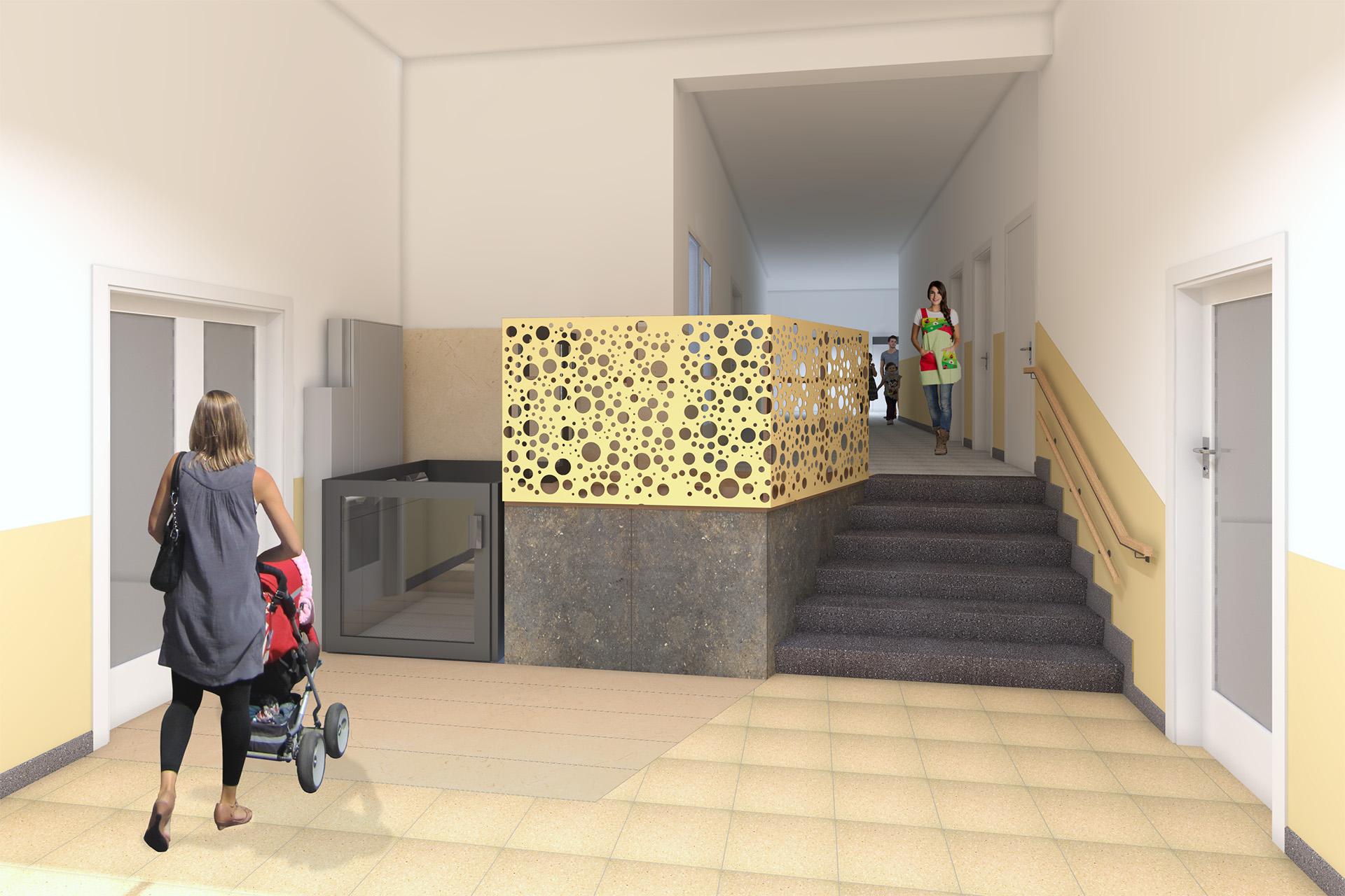 Vista frontal de vestíbulo y elevador
