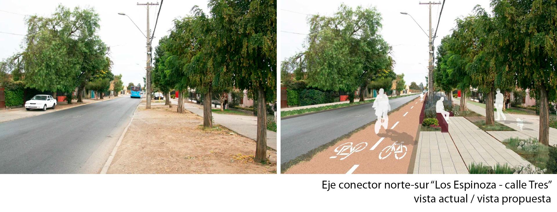 eje conector norte sur Los Espinoza calle Tres vista actual y propuesta