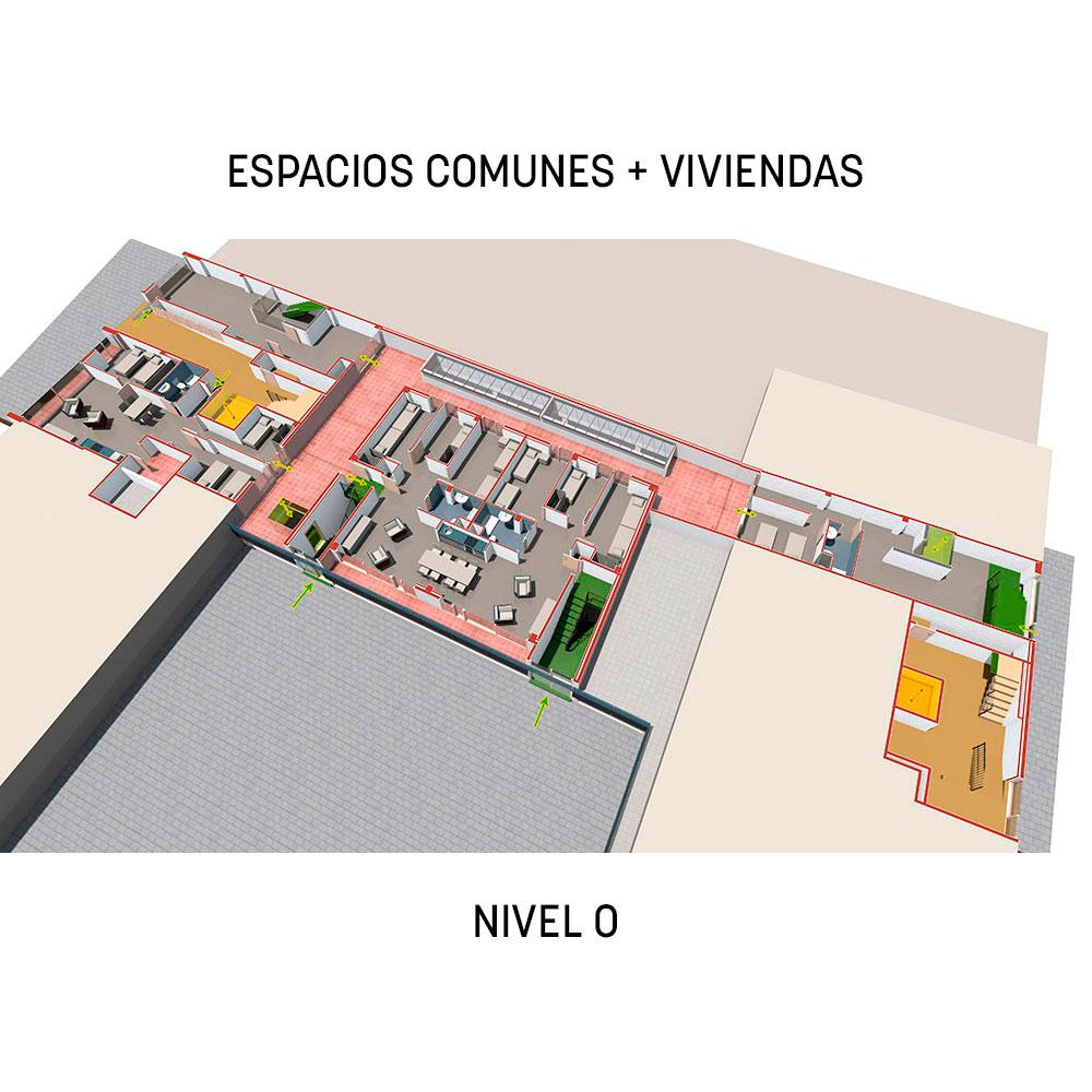 Proyecto Prodis: espacios comunes + viviendas - nivel 0